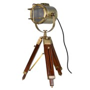 Wood and Brass Tripod Lamp