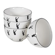 Set of 4 Hand Painted Stag Bowls