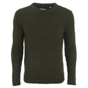 Brave Soul Men's Cassini Crew Neck Jumper - Dark Khaki
