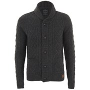 Threadbare Men's French Chunky Cable Cardigan - Charcoal