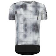 Eclipse Men's Carson Grid Print Zip Longline T-Shirt - White/Black