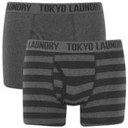 Tokyo Laundry Men's 2-Pack Burbank Striped Boxers - Dark Grey Marl/Black
