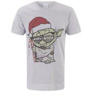 Star Wars Men's Yoda Santa Hat Christmas T-Shirt - Light Grey Marl