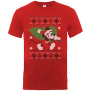 Disney Mickey Mouse Men's Christmas Tree T-Shirt - Red