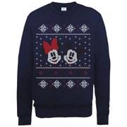 Disney Mickey Mouse Christmas Mickey And Minnie Sweatshirt -  Navy