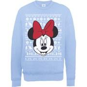 Disney Mickey Mouse Christmas Minnie Head Sweatshirt -  Light Blue