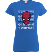 Marvel Comics Women's Spider-Man Face T-Shirt - Royal Blue