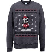 Disney Mickey Mouse Christmas Mickey In A Scarf Sweatshirt -  Dark Heather