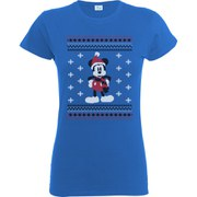 Disney Mickey Mouse Women's Christmas Mickey In A Scarf T-Shirt - Royal Blue