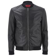 HUGO Men's Loxen Leather Jacket - Black