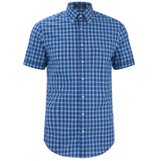 GANT Men's Dogleg Poplin Check Short Sleeve Shirt - Sage Blue