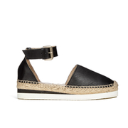 See by Chloe Women's Leather Espadrille Flat Sandals - Black