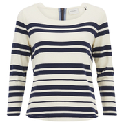 Maison Scotch Women's Breton Stripe 3/4 Sleeve T-Shirt with Zipper at Back - Multi