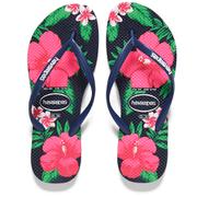 Havaianas Women's Slim Floral Flip Flops - Navy Blue