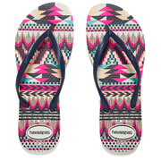 Havaianas Women's Slim Tribal Flip Flops - White/Navy Blue