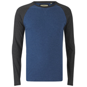 Brave Soul Men's Osbourne Raglan Long Sleeve Top - Vintage Blue Marl