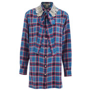Marc by Marc Jacobs Women's Oversized Button Up Collar Embelished Shirt - Blue/Red
