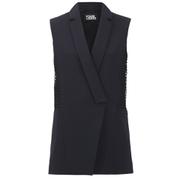 Karl Lagerfeld Women's Crepe Lace Detail Waistcoat - Navy