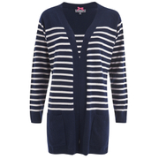 Cocoa Cashmere Women's Striped Cardigan - Navy/White