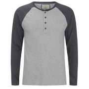 Brave Soul Men's Rasmus Grandad Long Sleeved Top - Light Grey/Charcoal