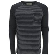 Brave Soul Men's Monacle Striped Raglan Long Sleeve Top - Black