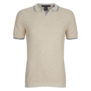 Scotch & Soda Men's Knitted Short Sleeved Polo Shirt - Ecru Melange