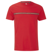 Luke 1977 Sport Men's Applique Stripe Detail Crew Neck T-Shirt - Marina Red
