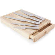 Living ARG1377464 5 Piece Wooden Knife Set with Drawer - Stainless Steel