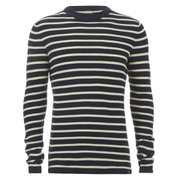 Selected Homme Men's Call Crew Neck Jumper - Dark Sapphire/Papyrus
