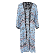 "MINKPINK Women's ""Western Wonder"" Print Spliced Maxi Kimono - Blue/Multi"