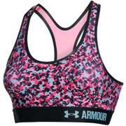 Under Armour Women's HeatGear Armour Printed Mid Sports Bra - Pink/Blue