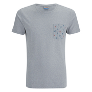 Jack & Jones Men's Originals Bobby Pocket Print T-Shirt - Light Grey Marl