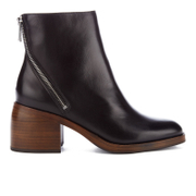 PS by Paul Smith Women's William Leather Diagonal Zip Heeled Mis Boots - Black