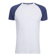 Brave Soul Men's Baptist Raglan Sleeve T-Shirt - White/Ink Blue