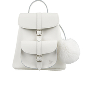 Grafea Women's Snowball Fur Pom Backpack - White