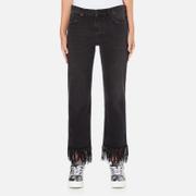 MSGM Women's Fringe Bottom Jeans - Black