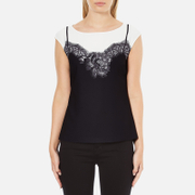 Boutique Moschino Women's Printed Lace Top - Off White/Black