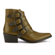 Toga Pulla Women's Buckle Side Leather Heeled Ankle Boots - Truffle