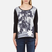 Maison Scotch Women's 3/4 Sleeve Photo Print T-Shirt - Black