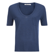 T by Alexander Wang Women's Classic Cropped T-Shirt with Chest Pocket - Marine