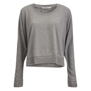 T by Alexander Wang Women's Enzyme Washed French Drapey Sweatshirt - Heather Grey