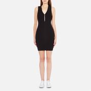 T by Alexander Wang Women's Viscose Flat Back Rib Knitted Hook and Eye Tank Dress - Black