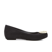 Vivienne Westwood for Melissa Women's Ultragirl 16 Ballet Flats - Black Flock Plaque