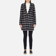 Maison Scotch Women's Bonded Wool Coat In Checks & Solids - Multi