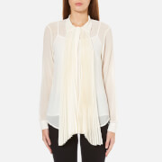 MICHAEL MICHAEL KORS Women's Pleat Neck Tie Top - Cream