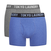 Tokyo Laundry Men's 2-Pack Cairns Boxers - Mid Grey Marl/Cornflower