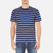 Lacoste Men's Striped Crew Neck T-Shirt - Navy Blue/Flour