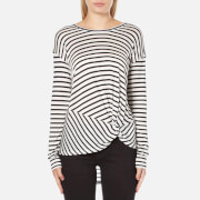 MINKPINK Women's Manhattan Long Sleeve Stripe Top - Black/White
