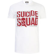 DC Comics Mens Suicide Squad Line Up Logo T-Shirt - Wit
