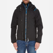 Superdry Men's Pop Zip Hood Arctic Windcheater Coat - Black/Denby Blue